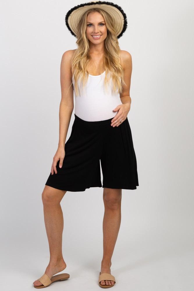 black elastic waist maternity shorts