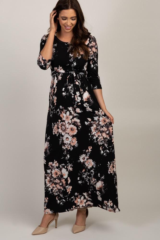 9eb997571832 Burgundy Cold Shoulder Maternity Mermaid Dress. $71. Black Floral Maternity Maxi  Dress
