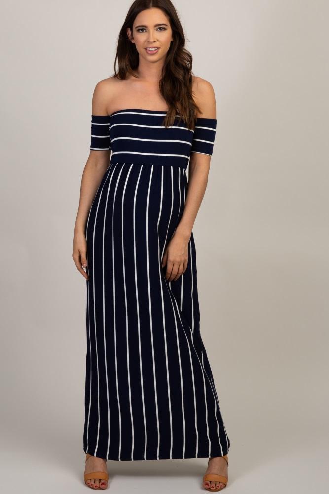 7cac23ca60ab0 Navy Striped Off Shoulder Maternity Maxi Dress