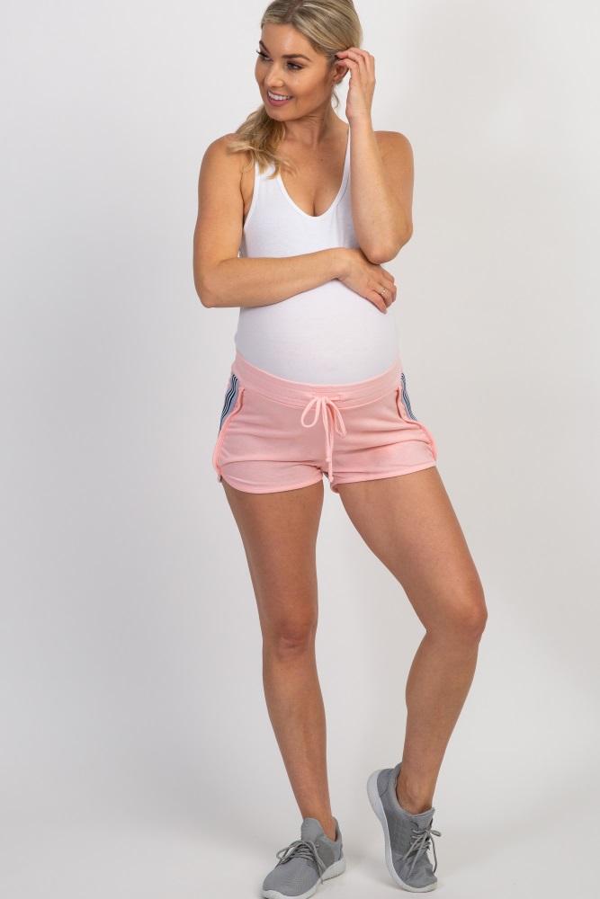 light pink dolphin hem striped side maternity shorts