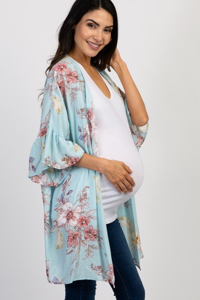 102dc13ece9b Light Blue Floral Ruffle Sleeve Maternity Kimono