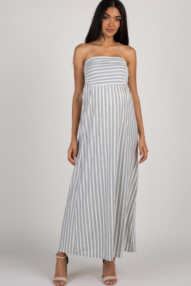 7f167467dce4 Heather Grey Striped Strapless Maternity Maxi Dress