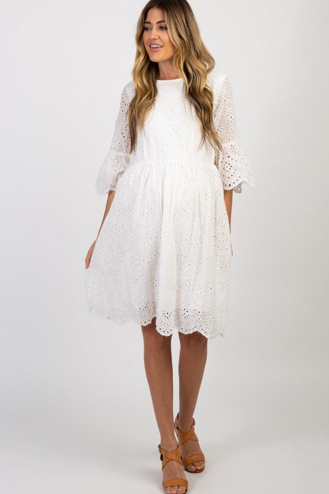 White Lace Scalloped Trim Ruffle Sleeve Maternity Dress