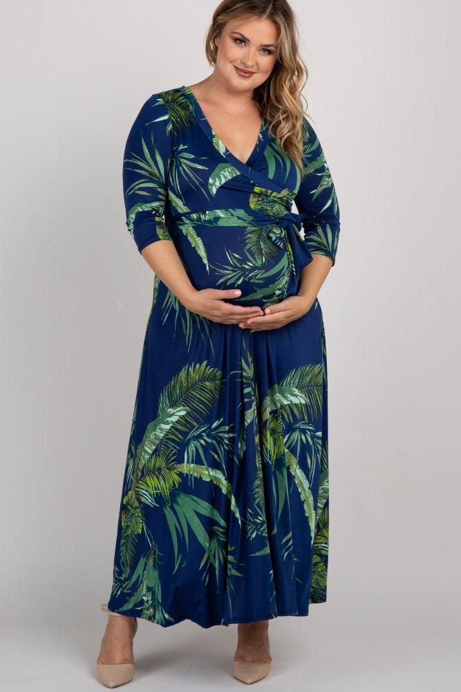navy palm leaf print plus maternity/nursing maxi dress