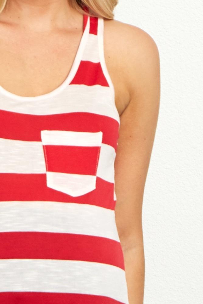 4b03be2b59f Red White Striped Maternity Racerback Tank