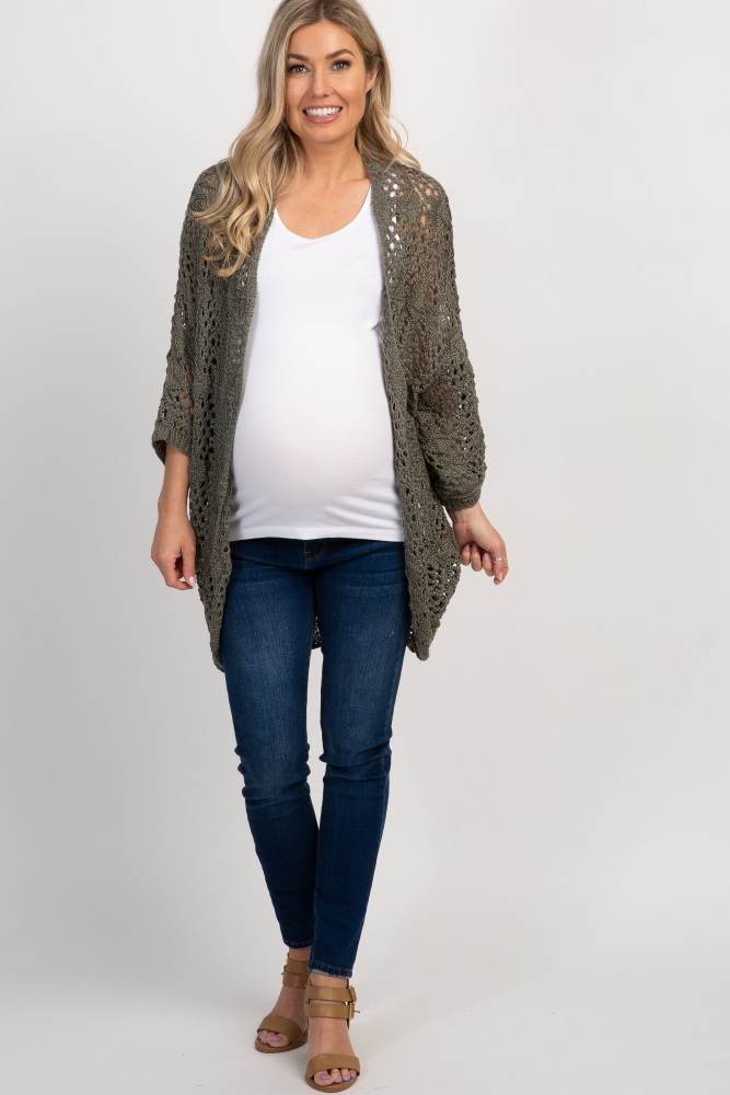 Olive Oversized Crochet Lace Maternity Cardigan