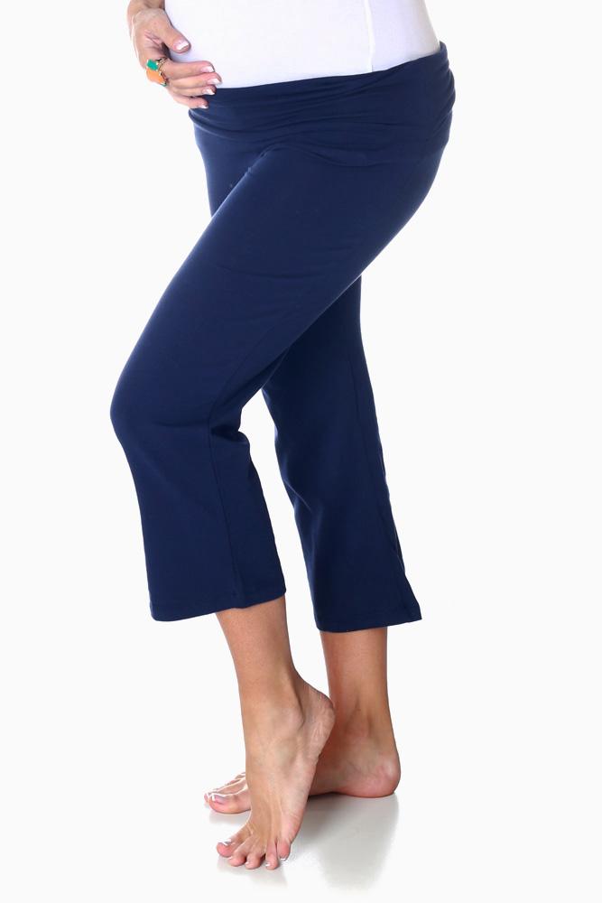 fff92d12eda33c Navy Blue Maternity Capri Yoga Pants