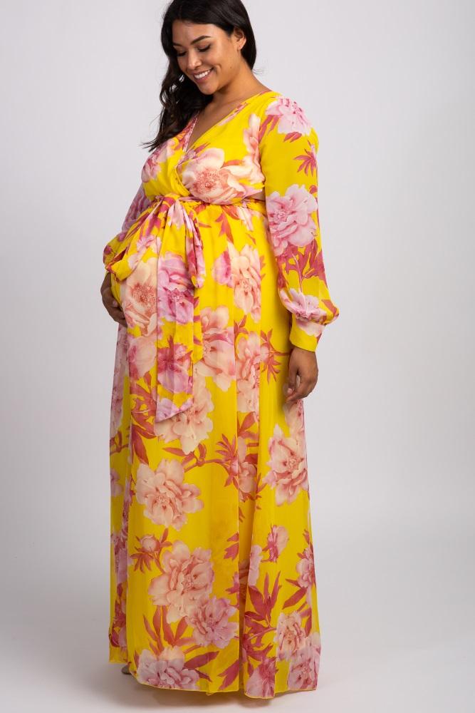 bd358254c2a58 Yellow Floral Chiffon Long Sleeve Plus Maternity Maxi Dress