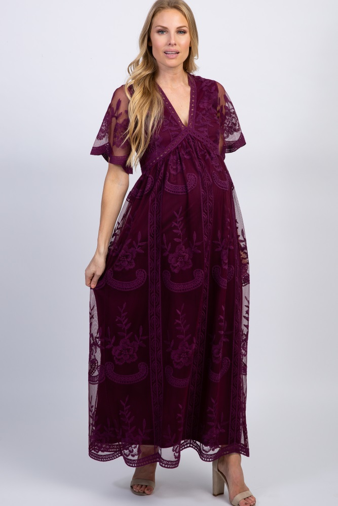 Deep Burgundy Lace Mesh Overlay Maternity Maxi Dress