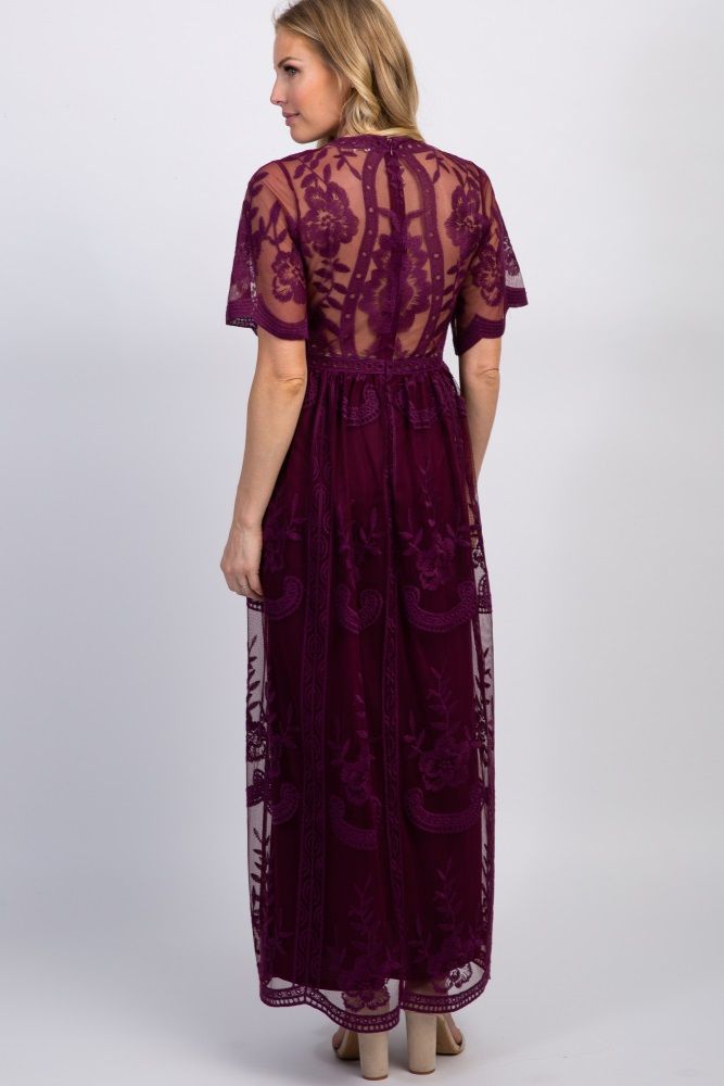 quality products hot-selling discount enjoy big discount Deep Burgundy Lace Mesh Overlay Maternity Maxi Dress