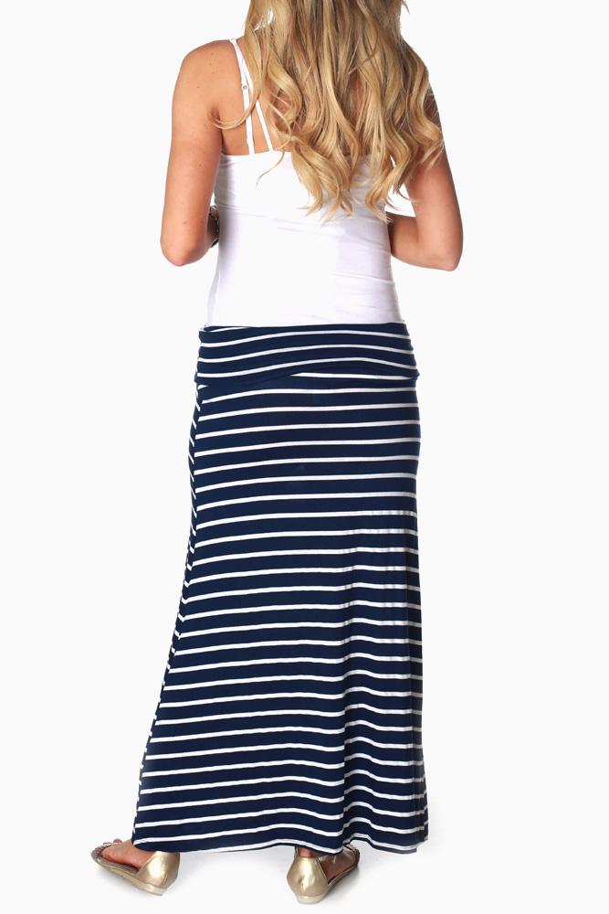 3431056d69 Navy Blue White Striped Maternity Maxi Skirt