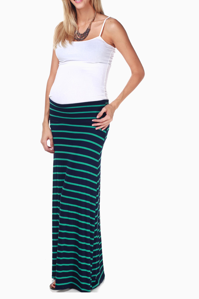 better large discount discount sale Navy Blue Green Striped Maxi Maternity Skirt