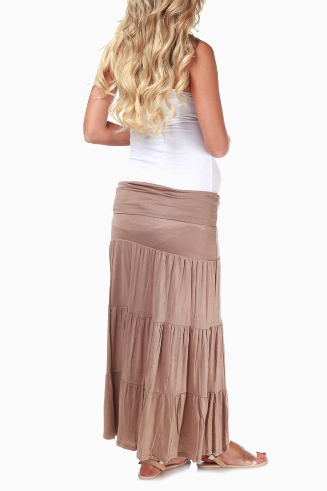 28fa560d89f24 Tan Bohemian Maxi Maternity Skirt