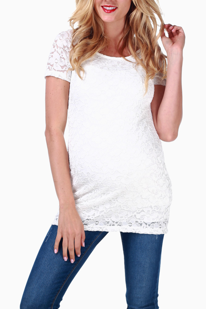 eb0a1d2447225 Ivory Lace Fitted Maternity Top