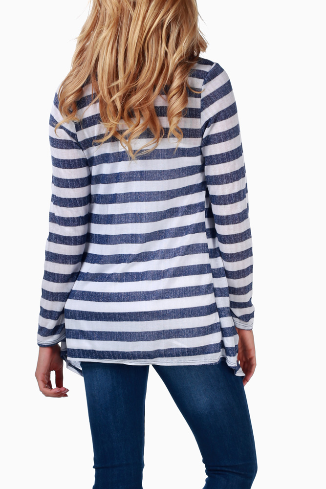 3cdef8c3649 Navy Blue White Striped Maternity Cardigan