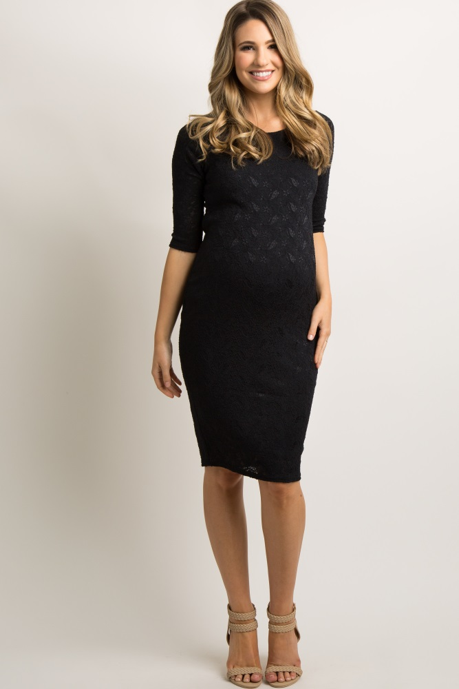 11ed004ba4a49 Black Lace Maternity Dress