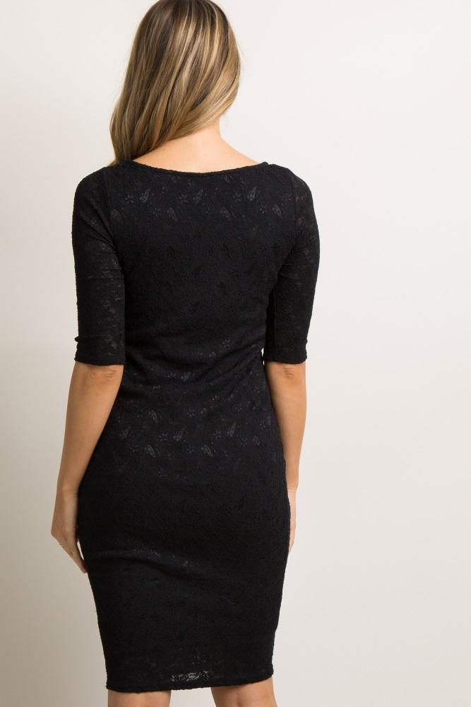 c5293e97ec Black Lace Maternity Dress