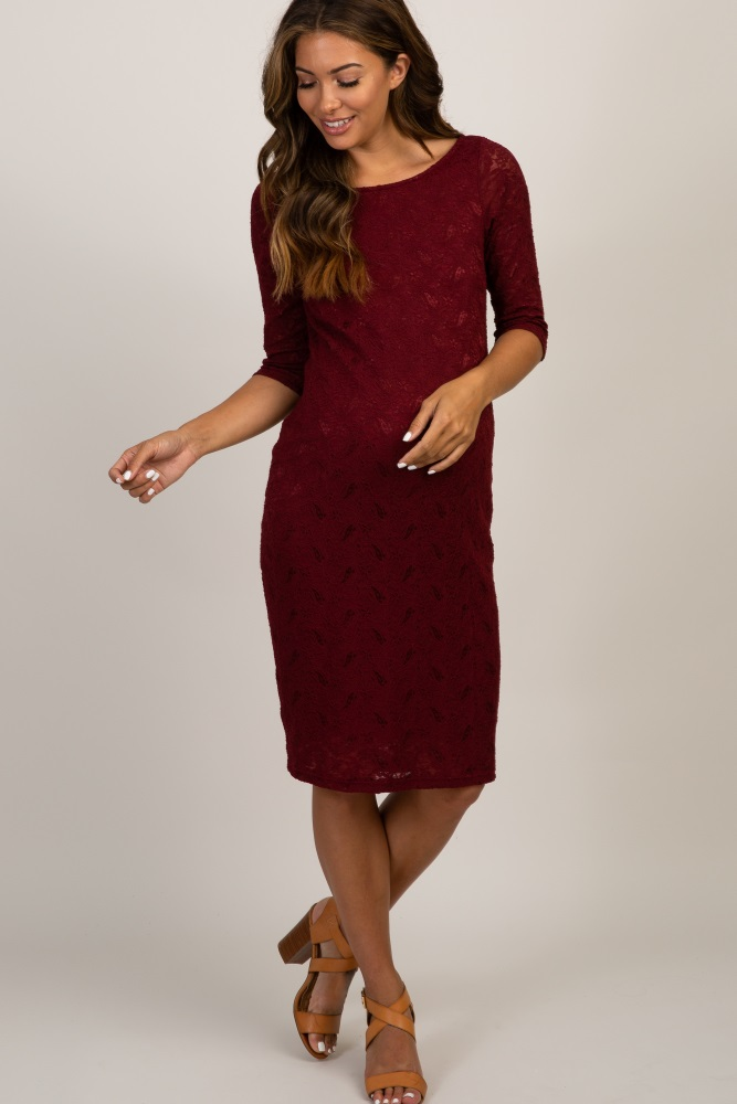 a88d76423d634 Burgundy Lace Maternity Dress