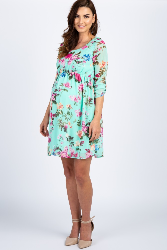 a8bb4d2773a Mint Floral Chiffon Maternity Dress