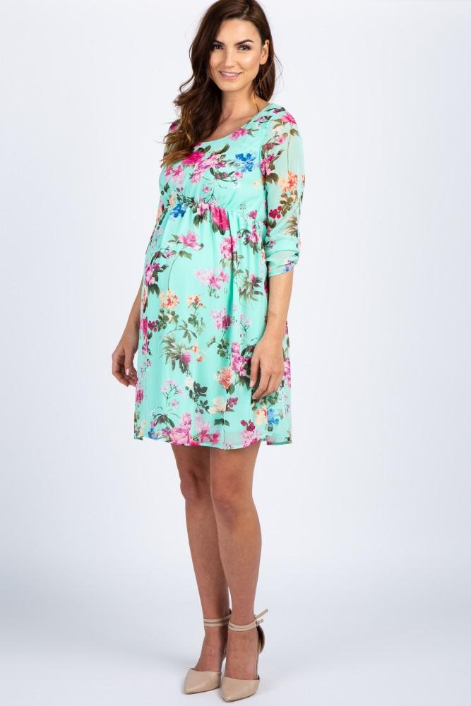 0b344a4765e7 Mint Floral Chiffon Maternity Dress