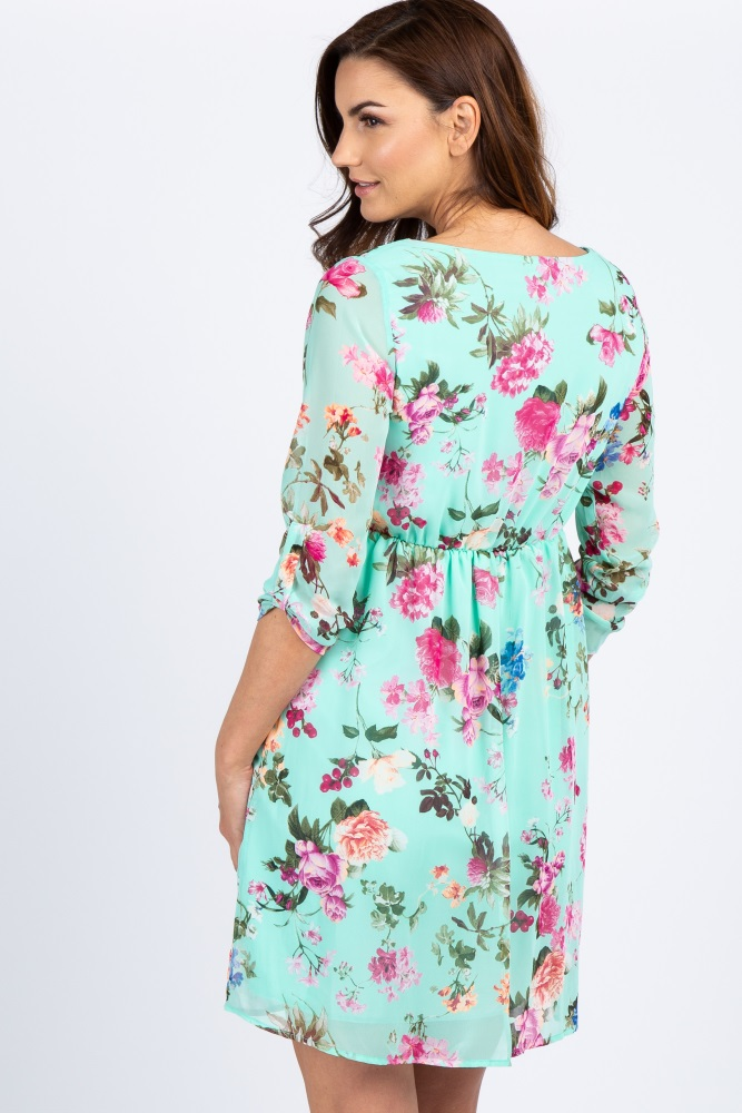 176fe6aee42e7 Mint Floral Chiffon Maternity Dress