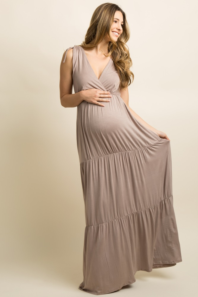 6bda631dcd8ec Mocha Solid Tiered Maternity/Nursing Wrap Maxi Dress
