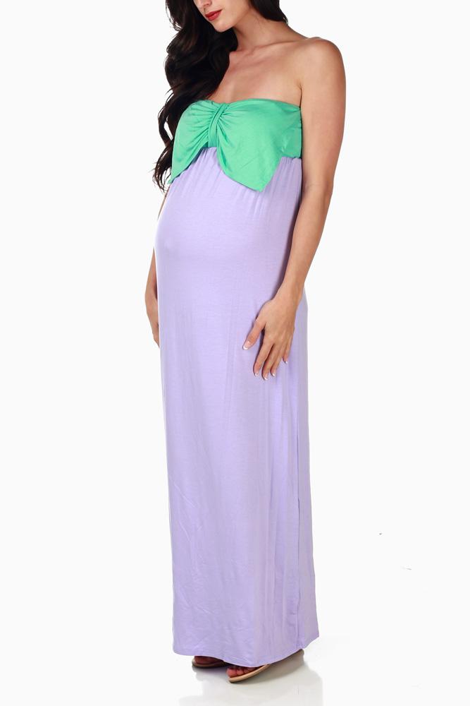b9a8a6e4f1128 Lavender Mint Bow Colorblock Maternity Maxi Dress