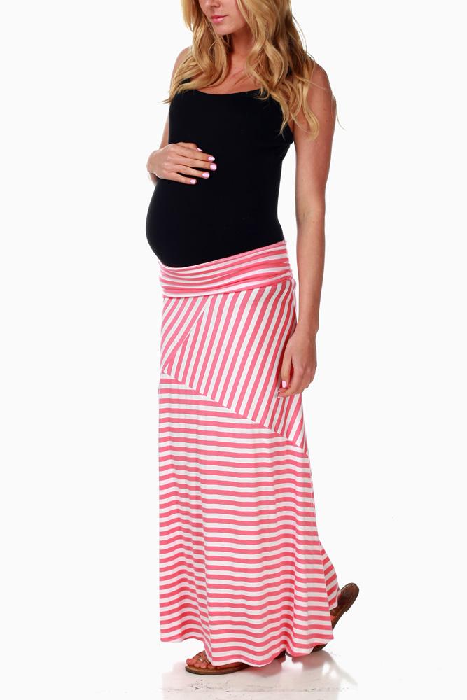 07852e1435 Coral White Striped Maternity Maxi Skirt