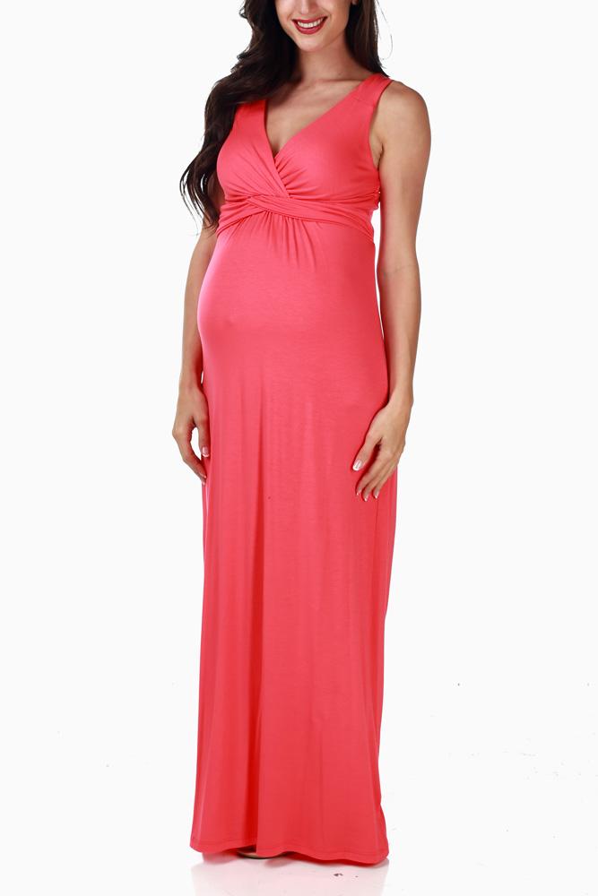 dbdc00b0bc017 Coral Maternity/Nursing Tank Maxi Dress