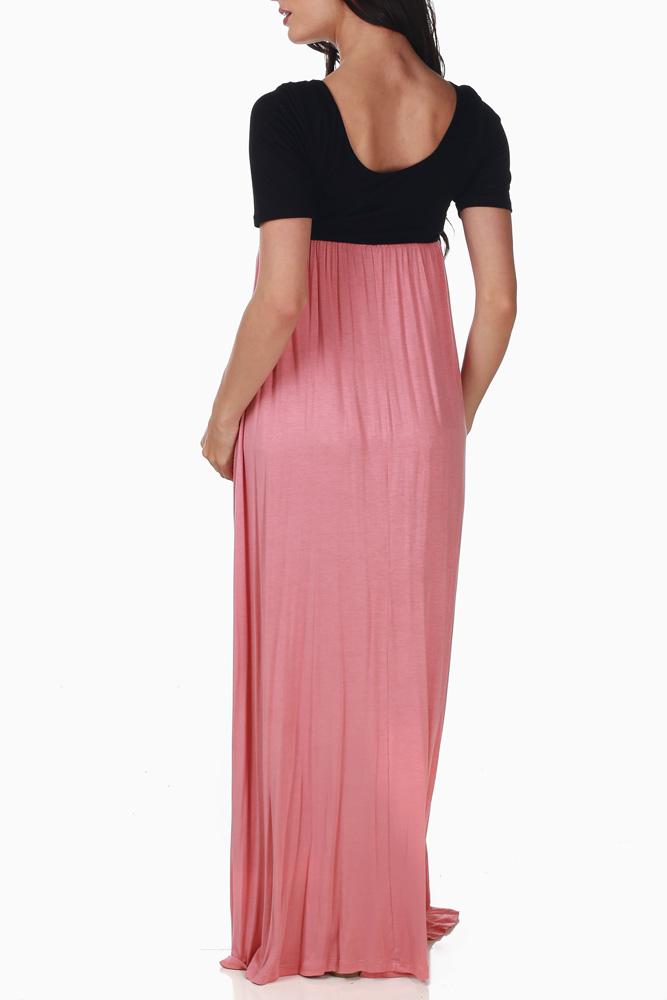 ba754d2900 Black Pink Colorblock Maternity Maxi Dress