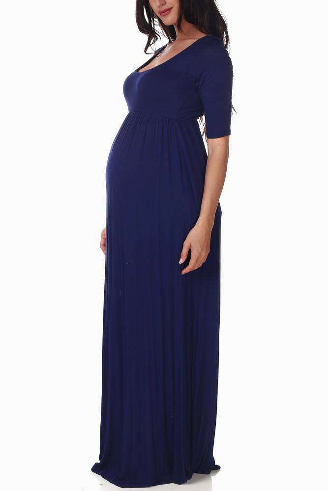 fd903a0687f2 Navy Blue Maternity Maxi Dress