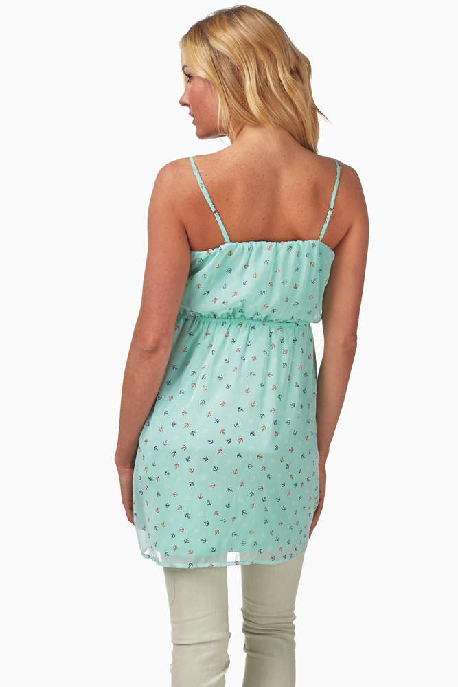 8a16dee14f929 Mint Green Anchor Print Maternity Tank Top