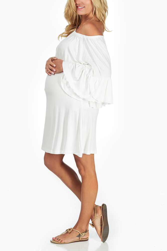 de255c81ebc White Flowy Maternity Dress Tunic