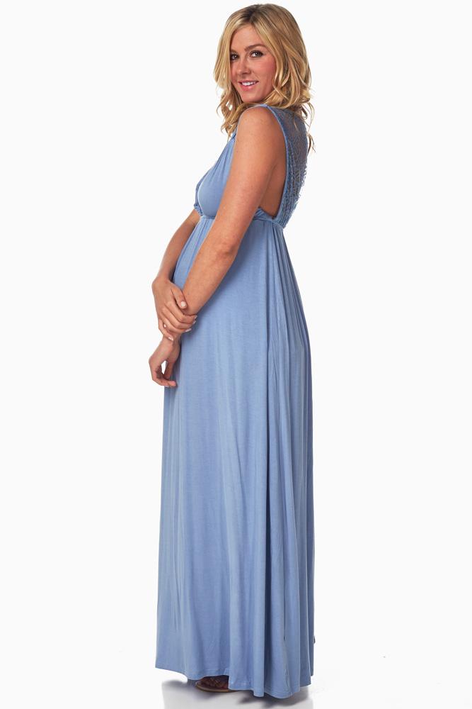 f09194ebb3 Light Blue Lace Back Maternity Nursing Maxi Dress