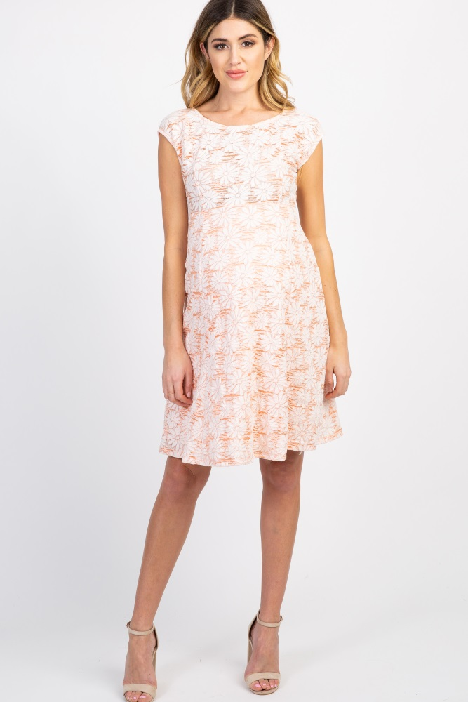 26e884bd90392 Peach Floral Lace Overlay Maternity Dress