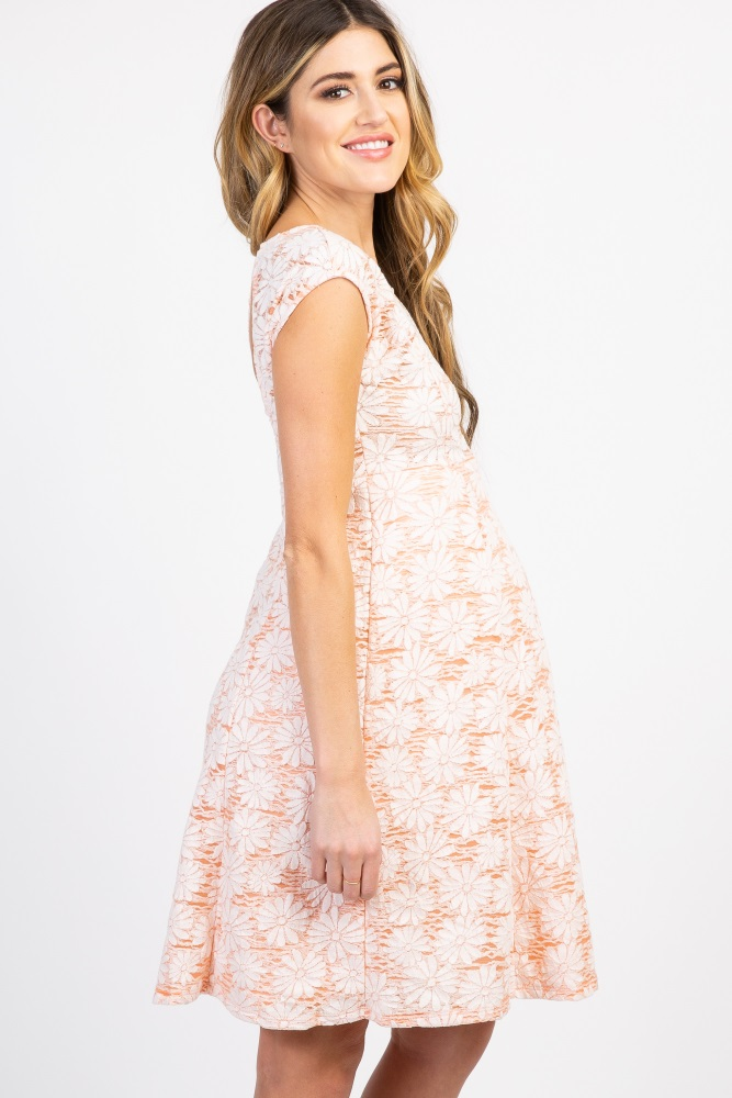 66f9c17888 Peach Floral Lace Overlay Maternity Dress