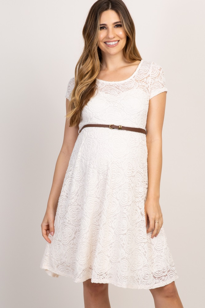c374d43b7ceec Ivory Lace Belted Maternity Dress