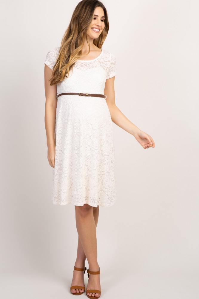8d43d7aefc1c6 Ivory Lace Belted Maternity Dress