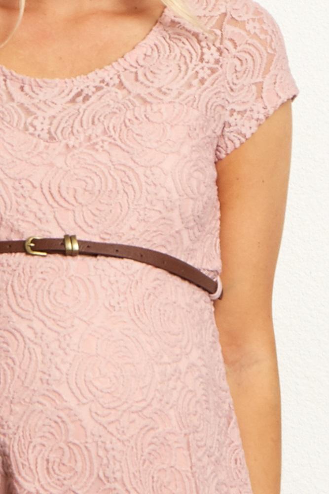 0b28b771f0 Pink Lace Belted Maternity Dress