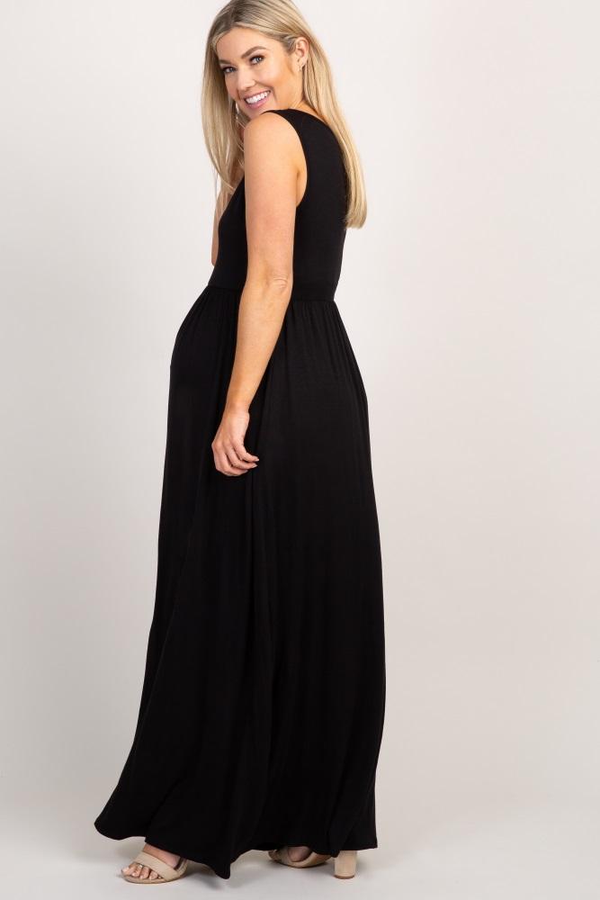 8f245c1f085 Black Basic Maternity Maxi Dress
