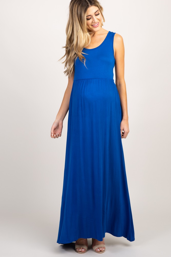 532e5f6e52667 Royal Blue Basic Sleeveless Maternity Maxi Dress