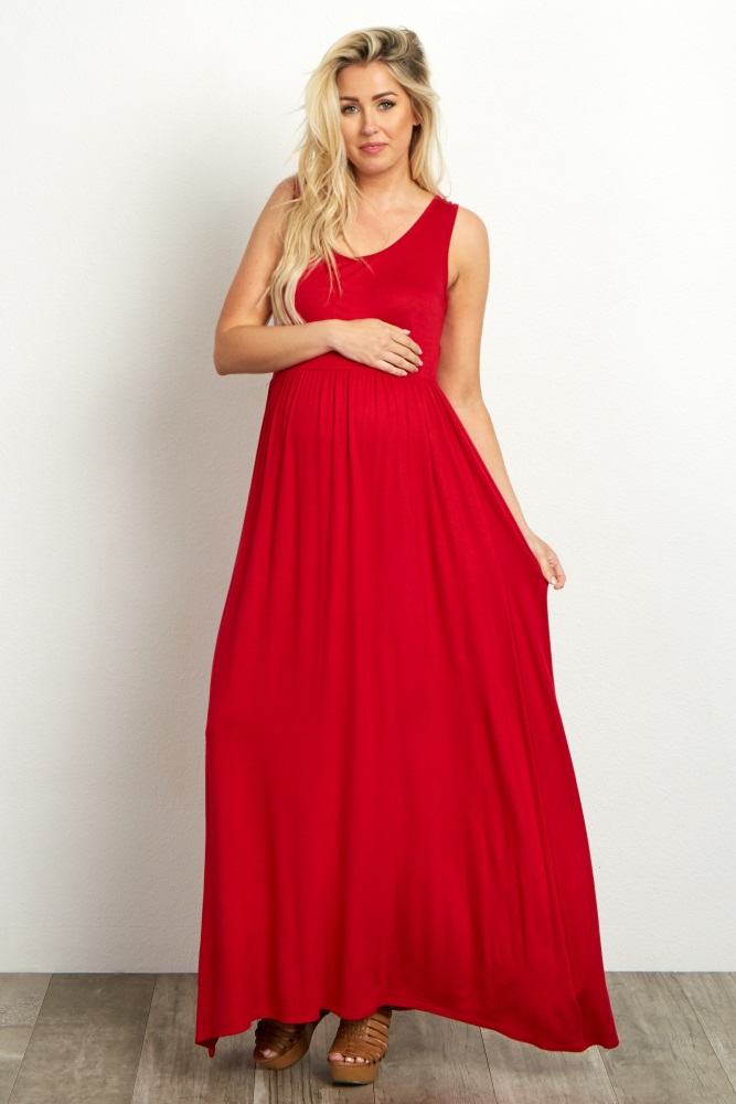 eae95e905aeaa Red Basic Sleeveless Maternity Maxi Dress
