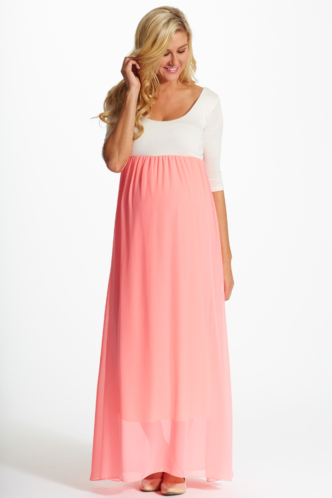 90887beacbdc5 Pink Chiffon Colorblock Maternity Maxi Dress