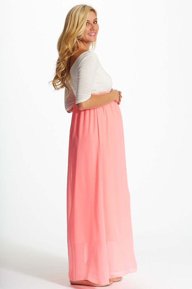 43b855a63a Pink Chiffon Colorblock Maternity Maxi Dress