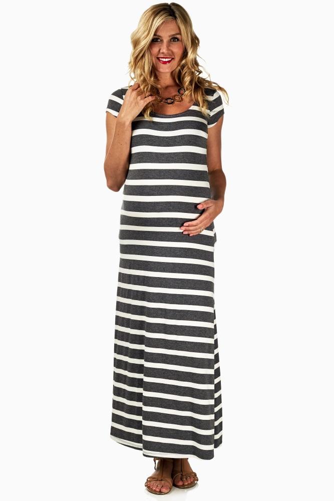 d7ca7c79288 Grey White Striped Maternity Maxi Dress