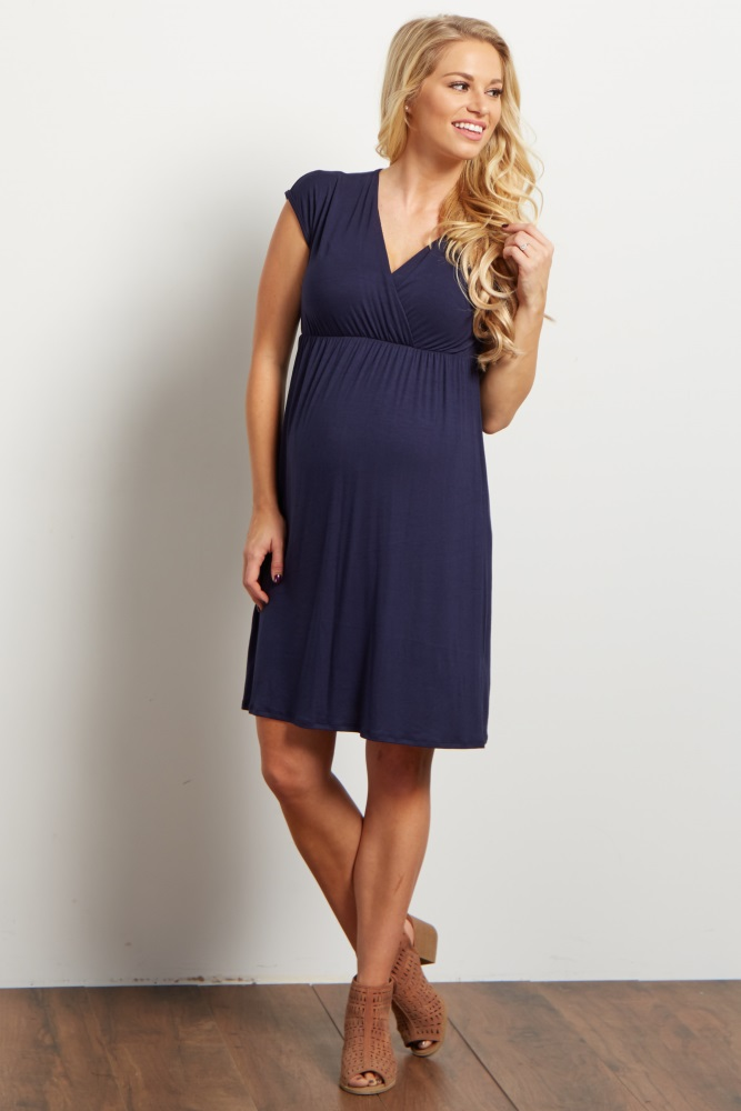 6382ed99a60bc Navy Blue Draped Maternity/Nursing Dress
