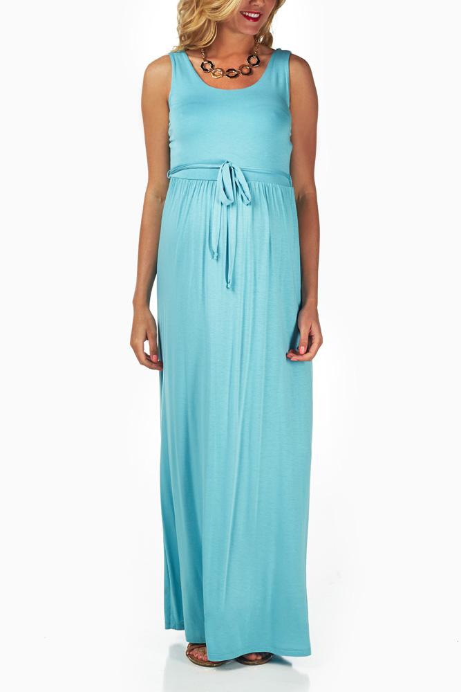 6caa4f119c1 Light Blue Sash Tie Maternity Maxi Dress