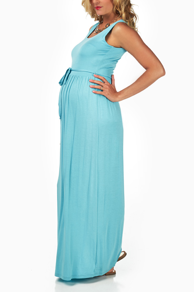f6603d6de48e7 Light Blue Sash Tie Maternity Maxi Dress