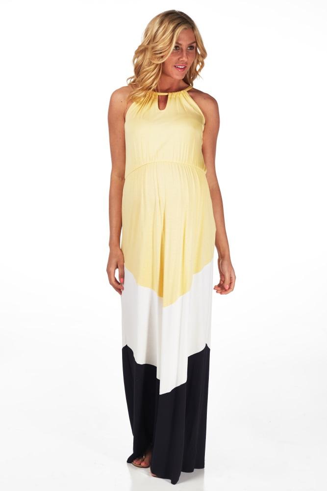 0066108a72 Yellow White Black Colorblock Cutout Front Maternity Maxi Dress