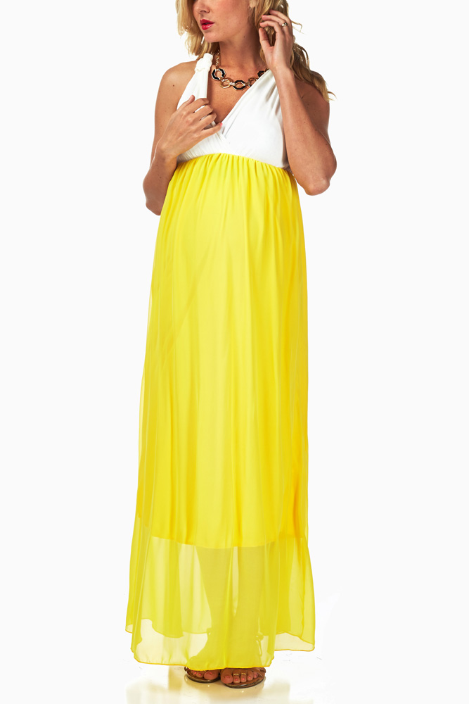 c6014a5dbd8d3 Yellow Chiffon Colorblock Maternity/Nursing Maxi Dress
